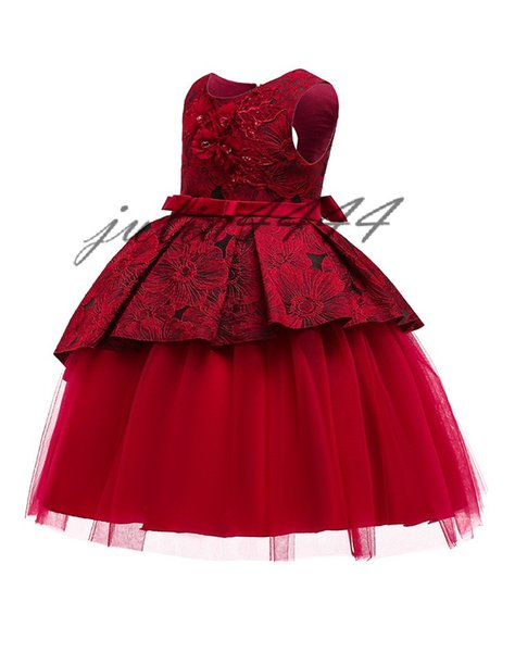 Flower Girl Dresses 2019 New Little Girl Pageant Kids Formal Wear With Sleeveless Scoop A Line Knee Length Lace Stain Cheap