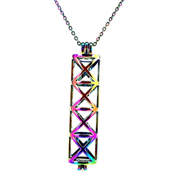 Rainbow Color Long Cylinder Cross Beads Cage Pendant Essential Oil Diffuser Aromatherapy Pearl Cage Locket Pendant Necklace-P