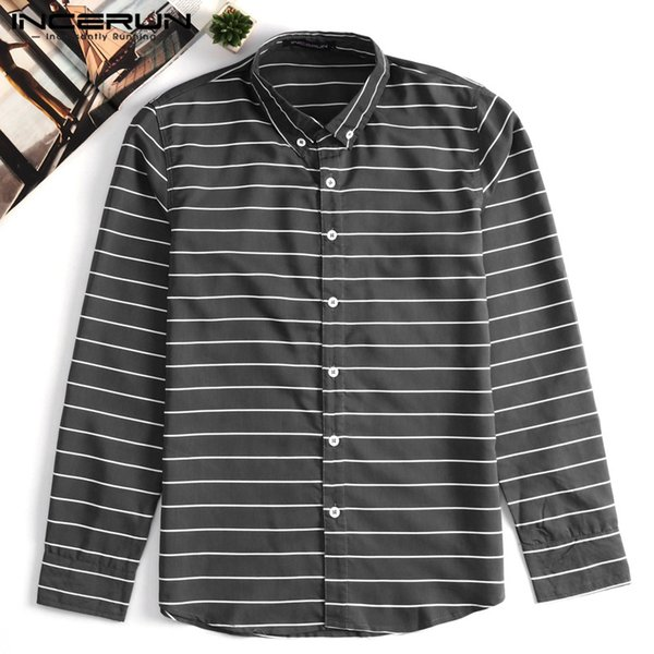 INCERUN Fashion Men Dress Shirt Striped Long Sleeve Slim Fit Lapel Neck Casual Shirts Men Streetwear Brand Basci Shirt 2019