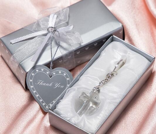 DHL Kilise Parti Için Giveaway Hediye Konuk Kristal Çapraz Anahtar Zincirleri düğün hediyelik eşya gelin duş Parti Şenlikli Şekeri şekeri