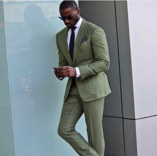 Green Custom Slim Fit Mens Business Suit (Jacket + Pants + Tie) Handsome Men's Suits Spring 2019 Hot Sell Wedding Suits Groom Custom Made