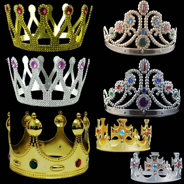 7 Styles King Queen Crown Fashion Party Hats Tire Prince Princess Crowns Birthday Party Decoration Festival Favor Crafts DHL