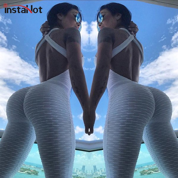 InstaHot Elastic Workout Jumpsuit Women Sexy Backless Cross Push Up Stretchy Tracksuits One Piece Clothing 7 Colors Sportswear T5190614