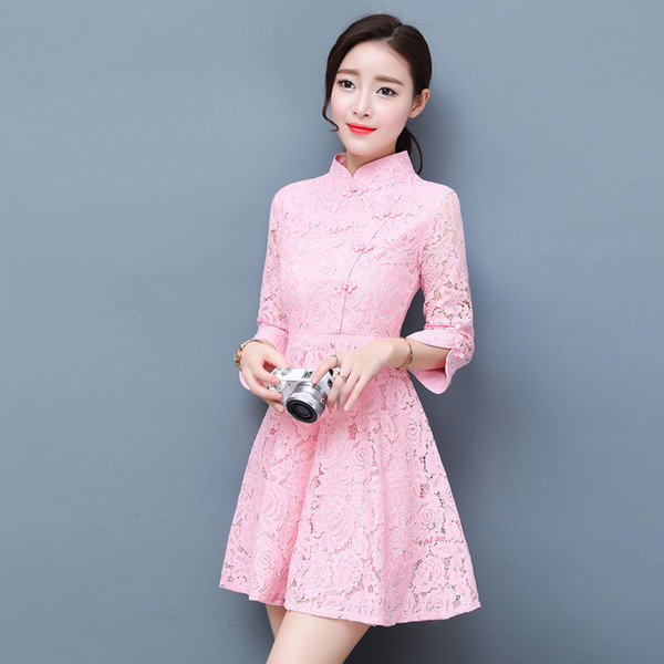 2019summer chinese traditional cheongsam embroidery dress embroidered wedding lace modern woman qipao s oriental for party