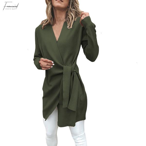 Kadınlar Giyim Kış Casual Deri Bağlı Yukarı V Yaka Açık Ön Takım Elbise Kız Ceket Dış Giyim Kadın Palto Polyester Coat