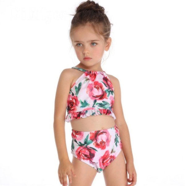 best selling Baby Girls Swimwear Ruffled Girl Swimsuits Shorts 2pcs Sets Rose Printed Kids Swimsuits Summer Swimming Clothing Free Shipping YW2994