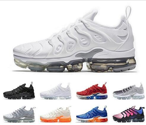 2db13f26d0 2019 TN Plus running shoes for men women sneakers PURE PLATINUM triple  black white USA cool