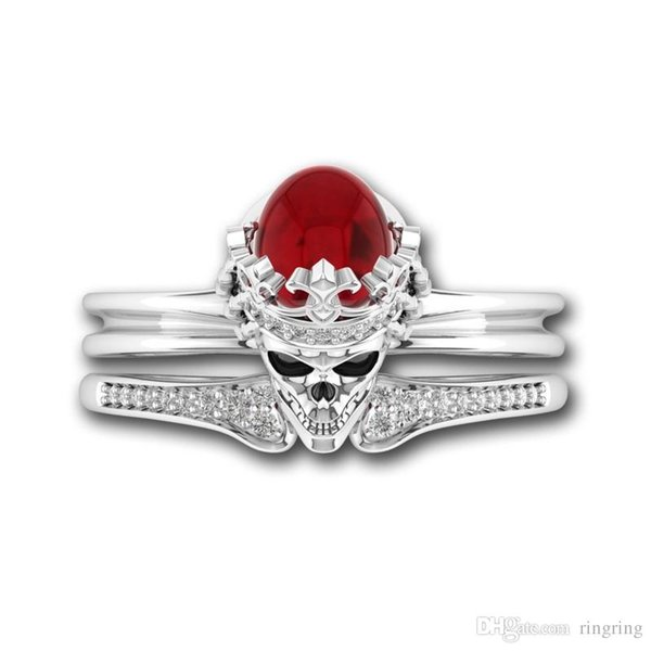 Luxury 925 Sterling Silver human skeleton Crystal anniversary Skull Gem Couple Ring Women Men SkeletonRing Gift Trendy Jewelry