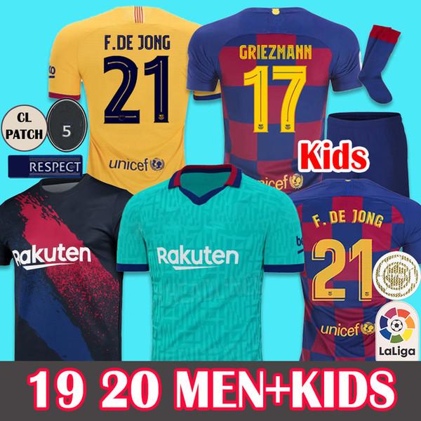Yeni yazı tipleri 2019 2020 Soccer Jersey Barcelona Futbol Forması ERKEK ÇOCUK Kadınlar 19 20 Barca Messi DE JONG Griezmann Rakitic Futbol Gömlek