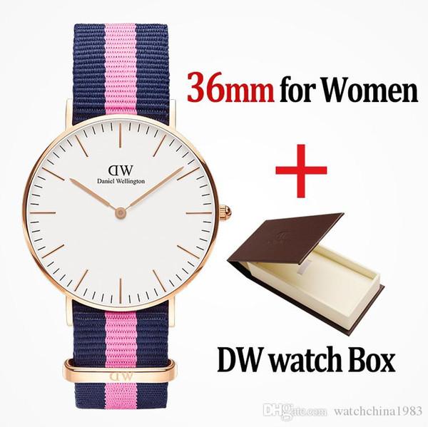 2019 top mens donne famose vedere le signore d'argento di nylon cinghia stile 36mm di modo con il regalo relojes Masculino relojes