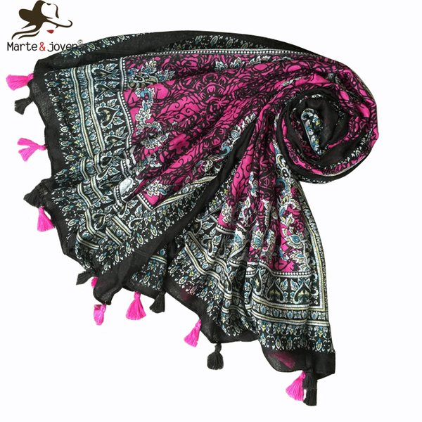 Marte&Joven Ethnic Style Paisley Pattern Purple/Black Long Hijab Scarf for Women Bohemian Autumn Winter Soft Warm Blanket Shawls