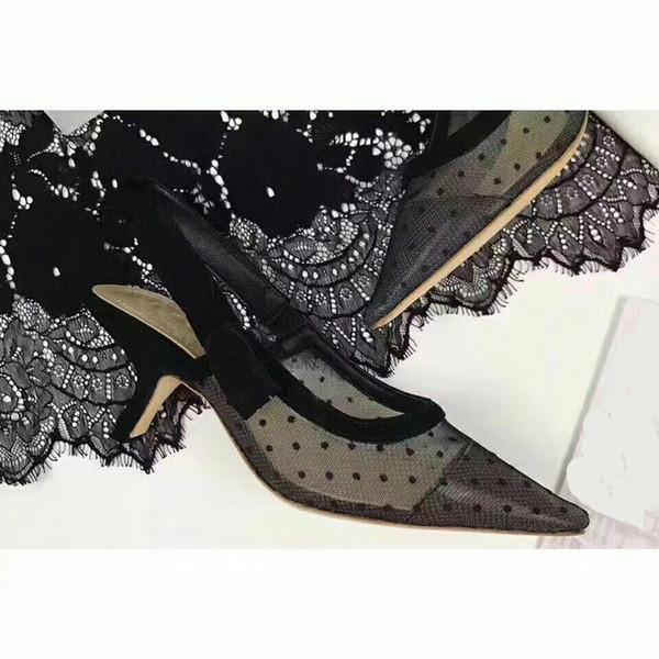AAALuxury Rhinestone Heel Brand Pointed toes Designer Slingbacks Pumps Women Lace Sandals High Heels Ladies Shoes Elegant black banquet shoe