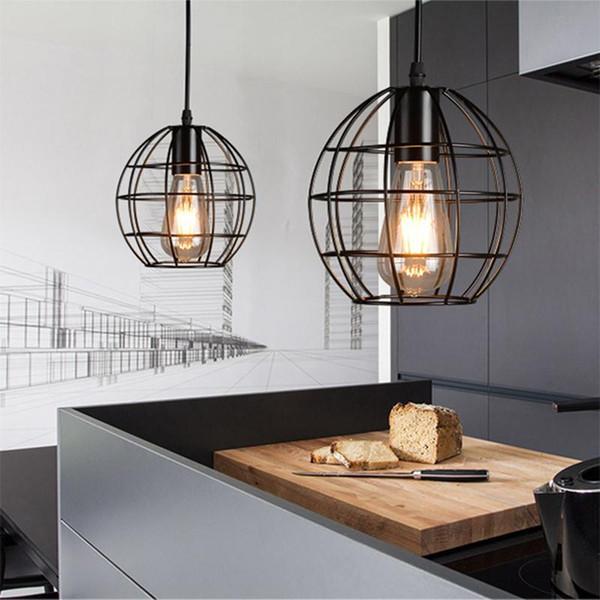 Pendant Light Vintage American Country stile industriale Loft Lampade gabbia di ferro Lampada a sospensione LED appendere le luci Bar Caffè Ristorante