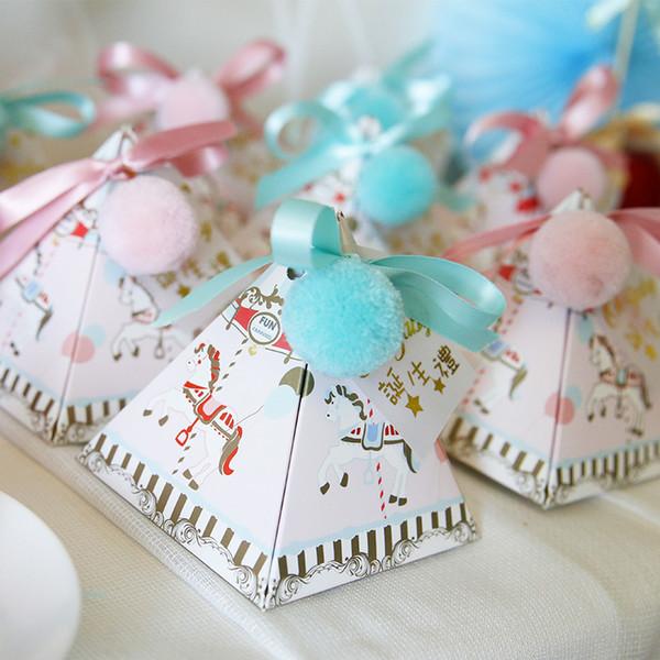 Cajas Bautizo.Compre 30 Unids Triangulo Bautizo Baby Shower Azul Rosa De Dibujos Animados Caballo Cajas De Dulces Con Etiquetas De La Cinta Bolas Bautismo Partido