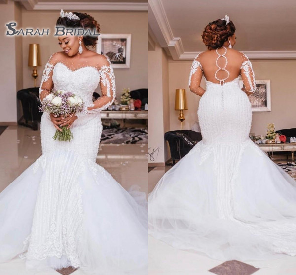 best selling Luxury Heavy Beading Mermaid Wedding Dresses Long Sleeve Appliques Pearls African Bridal Gowns Plus Size Bride Vestido de noiva 2020