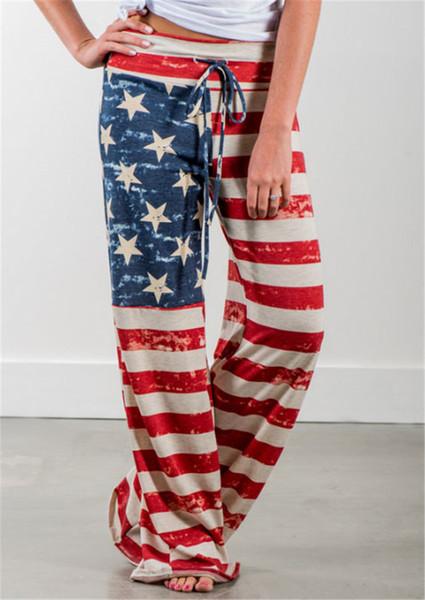 En gros Casual Loose Femmes Pantalons USA Drapeau Américain Taille Haute Cordon De Rayure Toute La Longueur Pantalon Rouge Confortable Pantalon S-3XL