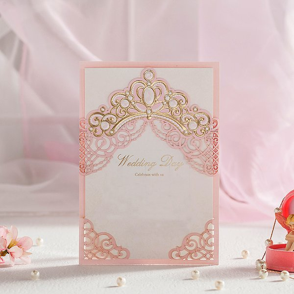 50pcs Royal Pink Laser Cut Wedding Invitations Cards With Gold Embossed Hollow Flora Design for Bridal Shower Customized