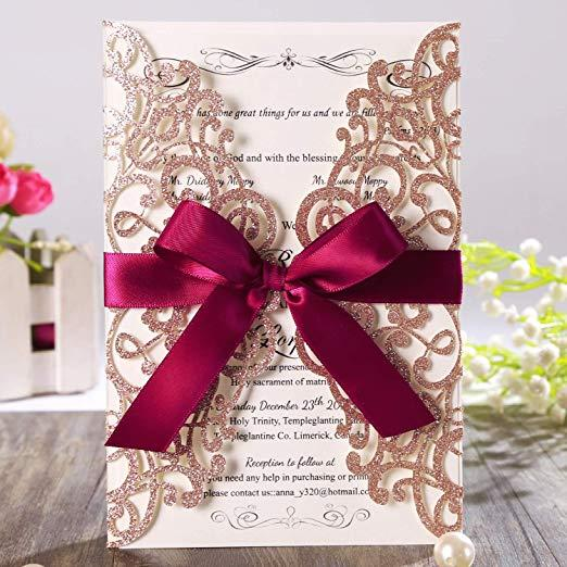 Rose Gold Glitter Laser Cut Wedding Invitation Cards with Burgundy Ribbon and Envelope for Quinceanera Bridal Shower Engagement Party