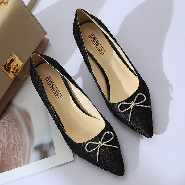 Dress Shoes Fashion Dress Pointed Toe Bow Knot Woman Thin Heeled Pumps Sweet Office Lady Zapatos Mujer Ladies 6950