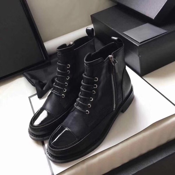 Stivaletti da donna in pelle di vitello con lacci da combattimento boost in pelle verniciata con cappuccio nero stivaletti alla caviglia madden girl tacco ruvido scarpe taglia US5-10
