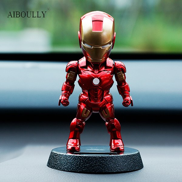 2017 Q Version Action Superhero Iron Man Pvc Figure Solar Energy Shake Head Toy 12cm Chritmas Gift Toys Q190604