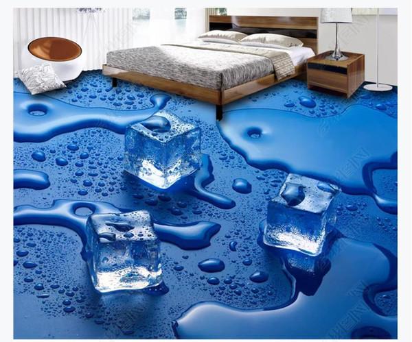 3D angepasst PVC selbstklebende Wandbild Tapete Boden Malerei Wasserdichte Badezimmer Eiswürfel 3D Bodenfliesen