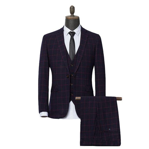 2019 Nova Xadrez Vermelho Terno Dos Homens Slim Fit Prom 3 Peça Terno Dos Homens de Negócios Groomsmen Formais Ternos de Casamento Para Homens (Jacket + Pants + Vest)
