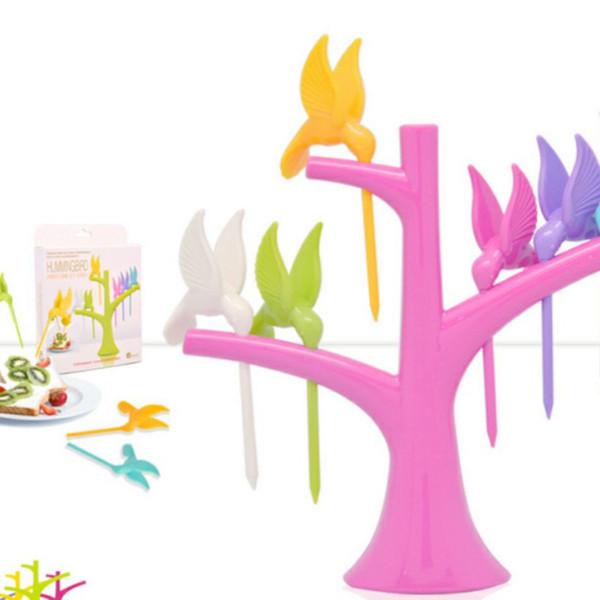 6 Stück / 5 Stück, Vogel / Sun Flower geformte Kunststoff-Gabel am Baum für Dessert / Kuchen / Obst, praktische Home Decoration Utensilien