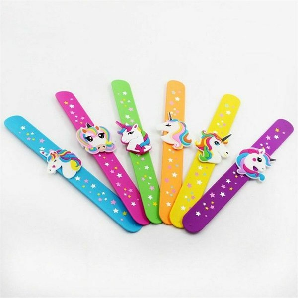1PCS Unicorn Slap Snap Wrap Wristband Band Bracelet Hand Ring Kids Boy Vogue Color Random