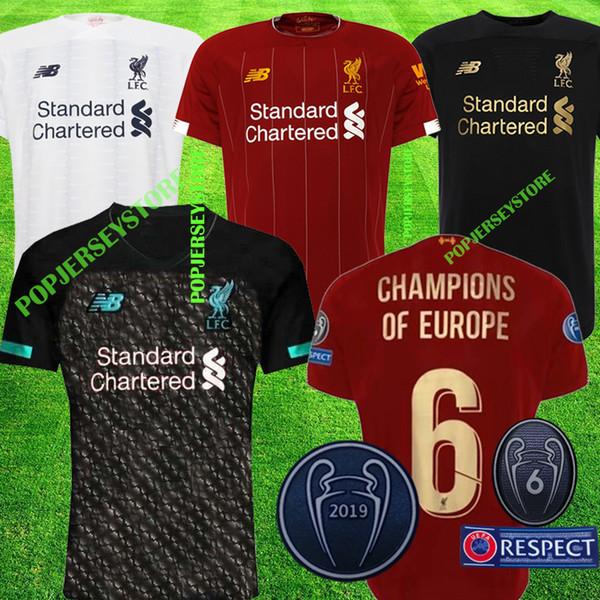 Maillot de foot 2019 2020 New Mohamed Salah 6 trophée 2019 MANE Tops Maillot liverpool de foot VIRGIL camiseta FIRMINO Kits ALISSON BECKER Maillot noir
