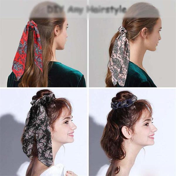 6PCS/LOT Fashion Flower Print Scrunchie Women Ribbon Elastic Hair Bow Scarf Hair Rubber Ropes Girls Hair Accessories