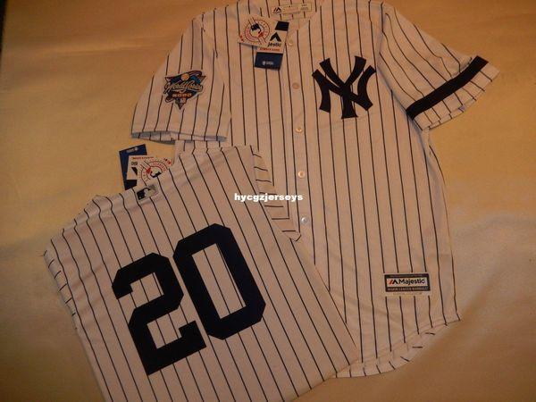 baseball pas cher NY # 20 JORGE POSADA 2000 Top chemise maillot blanc des nouveaux hommes maillots cousu Big and Tall TAILLE XS-6XL à vendre