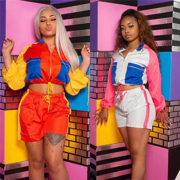 Women Quick Dry Tracksuit Color Match Zipper Jacket Coat + Shorts Summer Outfits 2 Piece Patchwork Sportswear Sun Protective Clothes C41607