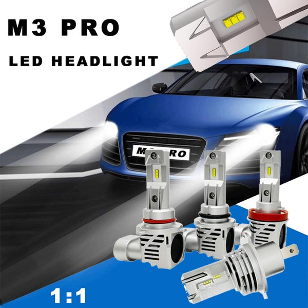 top popular M3 PRO Car Mini Size LED Headlight Bulbs LED H7 H4 H11 H1 Auto 110W Pair 10000LM Car Lamp 6500K Canbus LED Automotivo 12V 2019