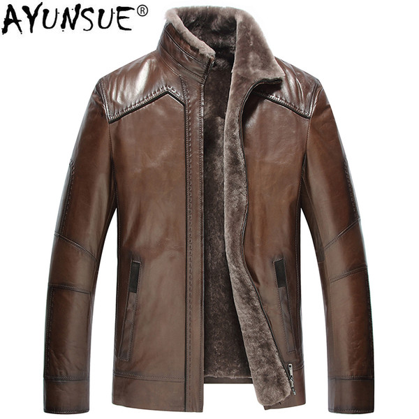 AYUNSUE Sheepskin Coat Winter Genuine Leather Jacket Men Natural Wool Liner shearling Men's Fur Coat Blouson Cuir Homme KJ1478