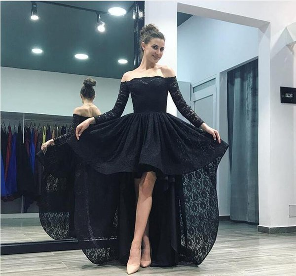 VestidoBlack Long Elegant Prom Evening Dress Off Shoulder Long Sleeve Lace Hi-Lo Party Gown Special Occasion Dresses Evening Gowns