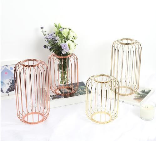 top popular Love Cage Nordic Luxury Transparent Glass Vase Creative Iron Art Hydroponic Vase Arrangement Dry Flower Living Room Decoration 2021