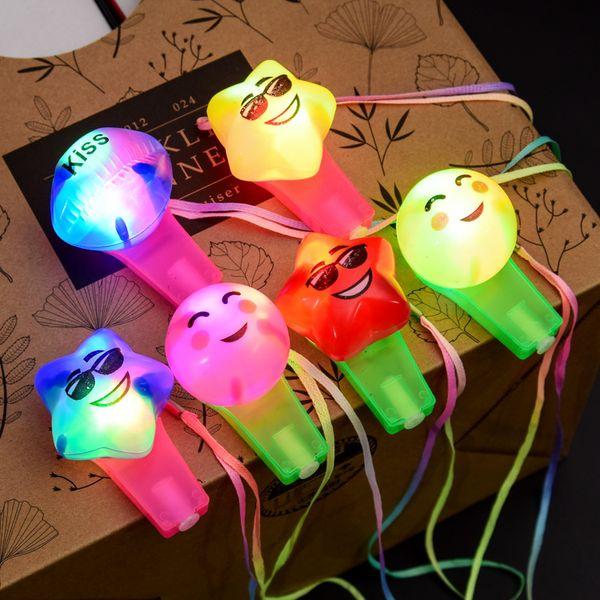 LED allument clignotant Emoji sifflets émoticône parti favorise Carnaval LED clignotant lanyard sifflet jouet
