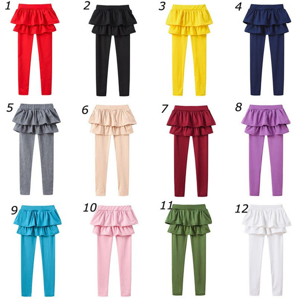 Girls Pantskirt Tutu Skirts Pants Kids Falbala Skorts Children Princess Leggings Tights Safe Under Wear Two Piece Dress Trousers Solid Color