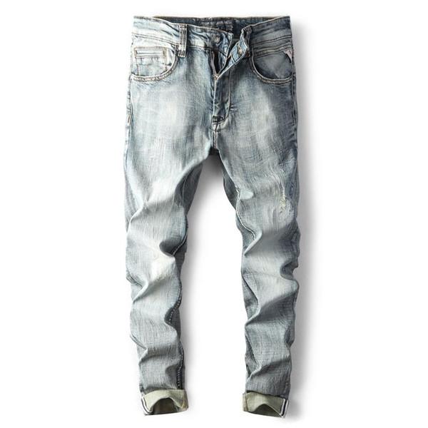 Новые джинсы Мужчины мужской тощий светло-серый вышивка джинсы мужские MODIS одежда 2018 для уличной осень весна хип-хоп зимние брюки