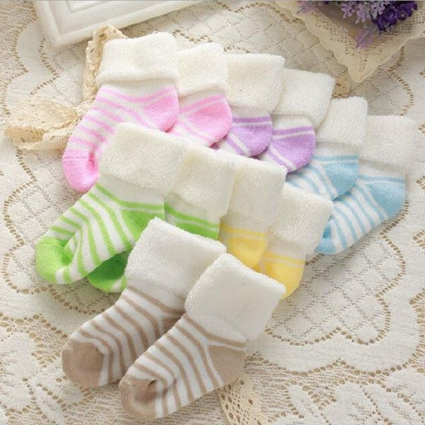 10 Pairs/Lot Baby Socks 2016 New Winter Striped Terry Socks Thick Warm Children Infant Boys And Girls Baby Socks Cotton Newborn Clothing