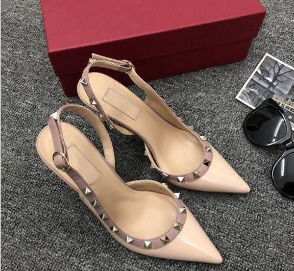 Nuevo diseñador de moda tacones de remache puntiagudo para mujer, sandalias de boda para fiesta sexy con tirantes para mujer talla 35-42 + caja