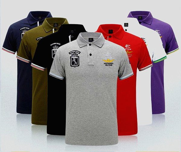 best selling 2019 Summer NASA Men's T-shirts Famous Designer Polo shirt Embroidery Asstseries Militare Pure Cotton Breathable Mens Brand Polo Shirt T087