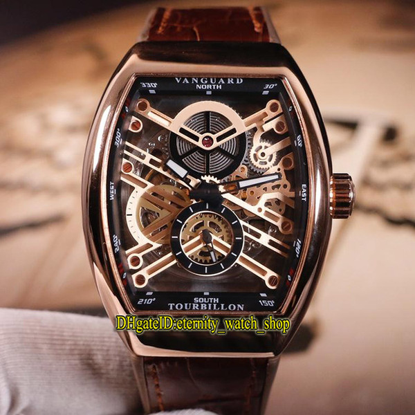 Cheap MEN'S COLLECTION VANGUARD V 45 S6 SQT NR BR (NR) Rose Gold Skeleton Dial Automatic Mechanical Mens Watch Leather Strap Sport Watches