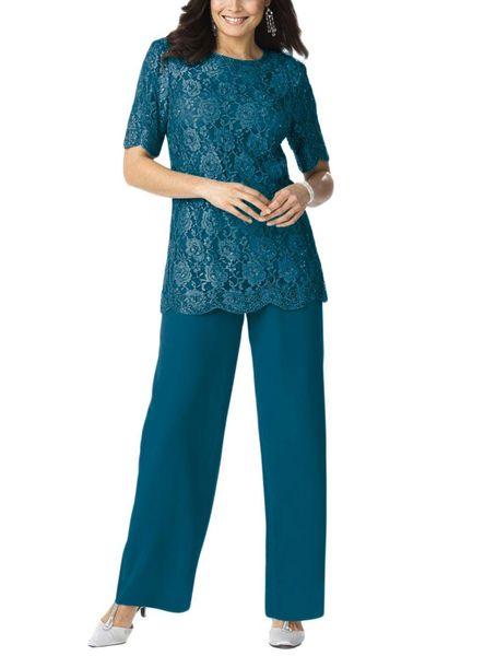 Women 2 Pieces elegant embroidery Lace Mother of Bride dress pants suit Floor Length for Wedding Groomsmen