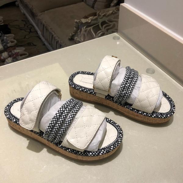 Designer Rubber slide sandal Floral brocade slipper Gear bottoms Flip Flops women striped Beach causal slipper rx19041408