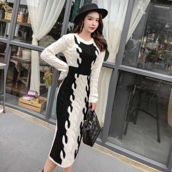 2019 Outono Inverno Branco Preto Assorted Cores Camisola De Malha Vestido de Manga Longa Magro Camisola Vestido Elegante Senhora
