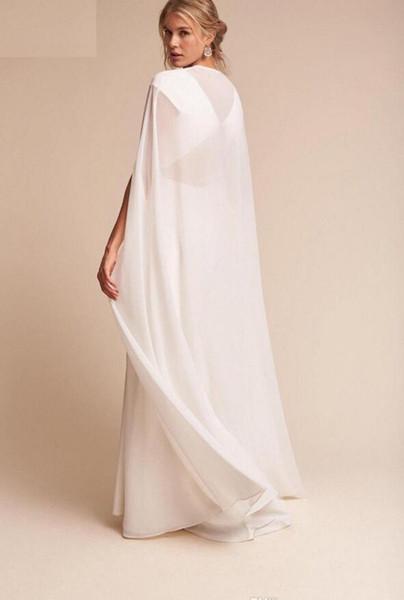 Women Long Chiffon Cape White /Ivory Wedding Jacket Cloak Bridal Dress Wraps Wedding Cape Wraps for Formal Dresses Women Dress Accessories