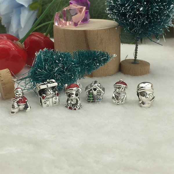 Orijinal 925 Gümüş 2019 Noel Serisi Charm Beads Sevimli Karikatür Charm Boncuk Uygulamalı için Pandora bilezik Kadınlar Takı Olabilir