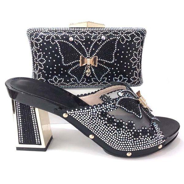 2018 Yeni Siyah Afrika Kadın Ayakkabı Ve Çanta Seti İtalyan 2018 Tasarımlar Büyük Boy 37 için 44 Yüksek Topuklu Ayakkabı Ve Çanta Düğün ...
